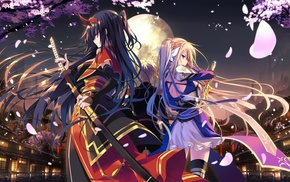 original characters, long hair, anime girls, sword, katana, samurai