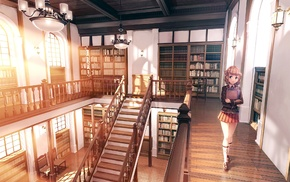 original characters, library, school uniform, interior, anime girls
