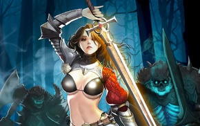 sword, girl, fantasy art