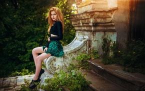 sitting, dress, legs, trees, Galina Rover, girl outdoors