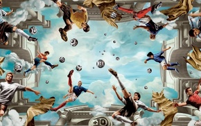 David Beckham, digital art, Djibril Ciss, Zinedine Zidane, ball, Kak