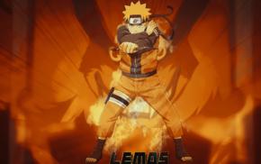 orange, anime, Uzumaki Naruto, nine tails, Naruto Shippuuden