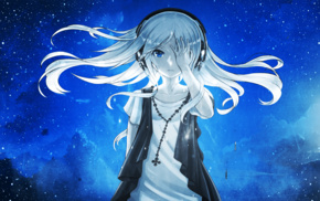 anime girls, blue, anime, stars