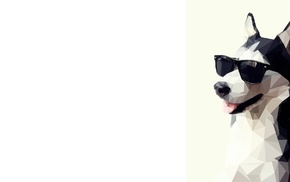 low poly, dog, simple background, animals, sunglasses, artwork