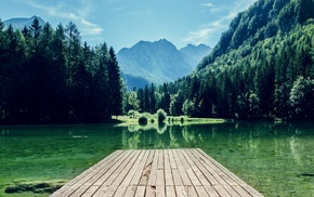 mountains, lake, nature, forest, dock