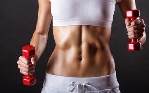 dumbbells, fitness model, girl, weightlifting, sports bra, model
