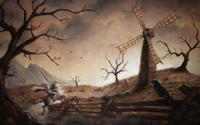 Don Quijote, knight, fantasy art, artwork, windmill