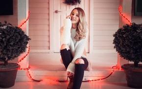 girl, sitting, smiling, blonde, model