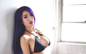 kitty nguyen, long hair, dyed hair, purple hair, portrait, looking at viewer