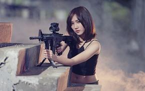 rifles, girl, Asian, model, weapon