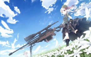 sniper rifle, anime, original characters, flowers, weapon, anime girls