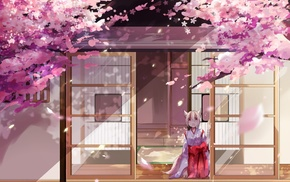 original characters, animal ears, miko, cherry blossom, anime girls