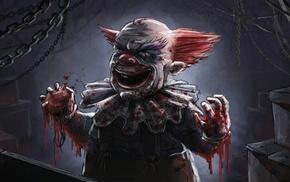 horror, clowns, artwork, blood