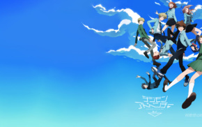 jumping, sky, clouds, anime, Digimon Tri, Digimon