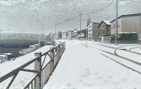 landscape, snow, boat, river, sailing, bridge