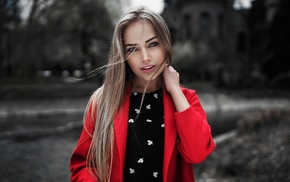 depth of field, Ivan Gorokhov, windy, Maria Puchnina, blonde, girl