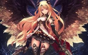 anime, girl with swords, anime girls, sword, wings, readhead