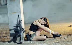 weapon, girl, model, rifles, Asian