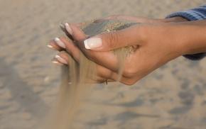 sand, hands, girl