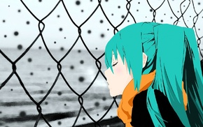 Hatsune Miku, Vocaloid, snow, chain, link, aqua hair