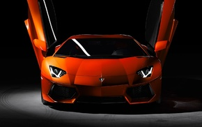 Super Car, Lamborghini Aventador, Lamborghini, car, orange cars