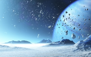 CGI, asteroid, space, planet, ice, digital art