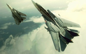 Grumman F, 14 Tomcat, clouds, Ace Combat, aircraft, military aircraft