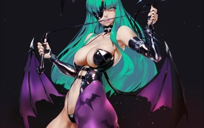 Morrigan, long hair, open shirt, anime girls, anime