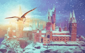 digital art, trees, Hogwarts, castle, architecture, winter