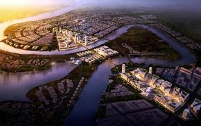 birds eye view, architecture, city, sunlight, ecology, street
