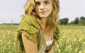 smiling, long hair, field, Emma Watson, blonde, flowers