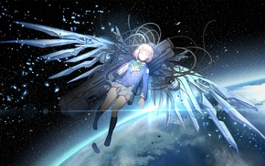 weapon, Saikano, wings, chise, space, Earth