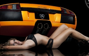 girl with cars, looking at viewer, model, car, Lamborghini, orange cars