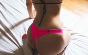 Nike, in bed, ass, model, panties, kneeling