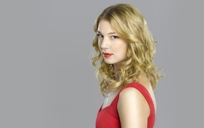 red, Emily Vancamp, simple background, actress, dress, blonde