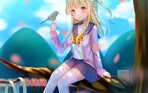 anime girls, long hair, birds, blonde, anime, trees