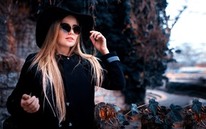 girl outdoors, sunglasses, black clothing, hat, blonde, Peter Paszternak