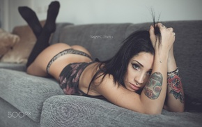 nose rings, tattoo, ass, girl, legs up, looking at viewer