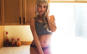 kitchen, girl, model, Justin Swain, blonde, portrait