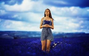 field, girl outdoors, model