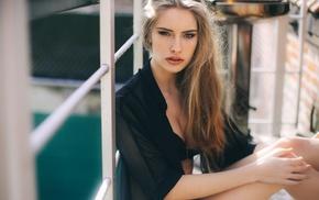 sitting, blonde, portrait, girl, looking at viewer, Camille Rochette