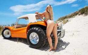 ass, sunglasses, nipples, shaved pubic hair, blonde, sand