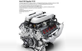 engine, Audi R8, car, Audi, Audi R8 Spyder