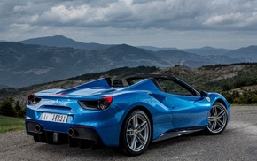 clouds, hills, blue cars, car, Ferrari, Ferrari 488 GTB