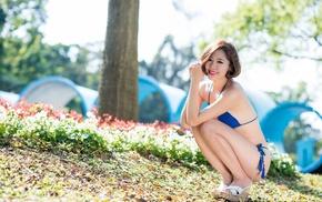 girl outdoors, Asian, model, girl