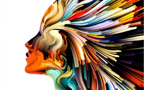 abstract, colorful, white background, artwork, girl, profile