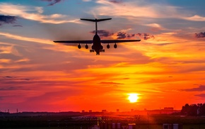 aircraft, landing, sunset, il, 76