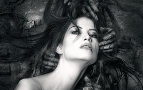 girl, monochrome, model, portrait