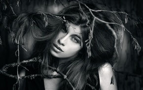 monochrome, model, face, portrait, girl