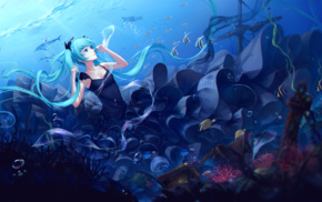dolphin, fish, twintails, underwater, dress, Hatsune Miku